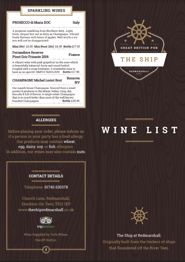 Wine Menu @ The Ship Redmarshall